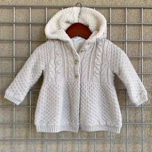 Baby Girl Gray Knit Cozy Fur Lined Hooded Sweater